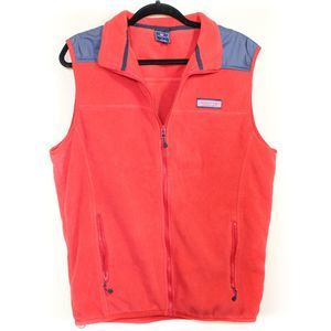 Vineyard Vines Men's Sherpa Fleece Vest Red Large